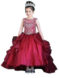 Calla Collection Girls Multi Colors Ruffle Train Back Ball Gown Dress 3-16
