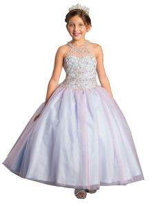 Calla Collection Girls Multi Color Unicorn Bejeweled Ball Gown Dress 3-16
