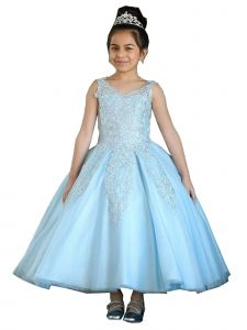 Calla Collection Girls Multi Color Sparkle Embroidery Ball Gown Dress 3-16