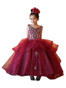 Calla Collection Girls Multi Color Off-Shoulder Embroidered Ball Gown Dress 3-16