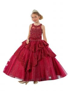 Calla Collection Girls Multi Color V-Shaped Embroidery Ball Gown Dress 3-16