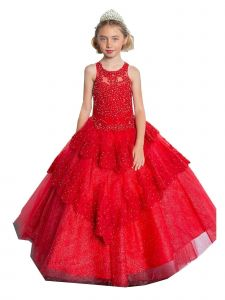 Calla Collection Big Girls Red V-Shaped Embroidery Ball Gown Dress 8-16