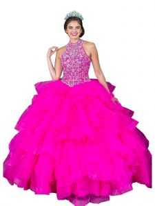 Calla Collection Women's Magenta Multi Layered Ball Gown Pageant Dress 2-16