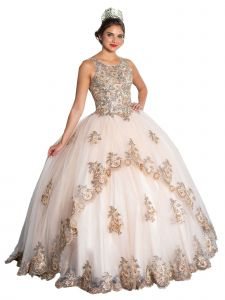 Calla Collection Women's Champagne Richly Embroidered Ball Gown Dress 2-16