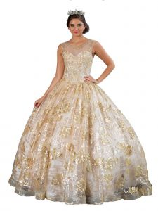 Calla Collection Women's Gold Sparkle Flower Accent Ball Gown Dress 2-16