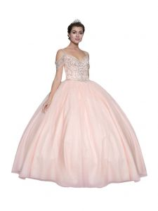 Calla Collection Womens Blush Pink Off Shoulder Quinceanera Ball Dress 2-16