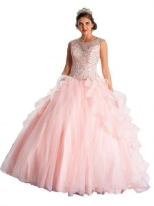 Calla Collection Women's Blush Ruffle Train Back Ball Gown Dress 2-16
