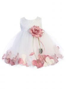 Kids Dream Baby Girl White Sequin Petal Floating Flower Girl Dress 6-24M