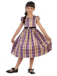 Plus Size Girls Beige Plaid Black Velvet Sash Christmas Dress 14.5-20.5