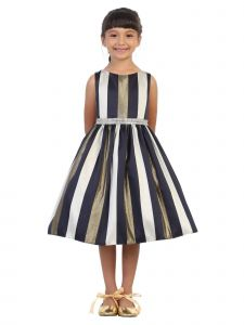 Kids Dream Big Girls Navy Metallic Stripe Tea Length Christmas Dress 8-12