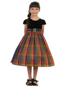 Kids Dream Plus Size Girls Orange Plaid Black Velvet Christmas Dress 14.5-20.5