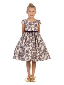 Kids Dream Little Girls Purple White Floral Brocade Tea Length Christmas Dress 2T-6