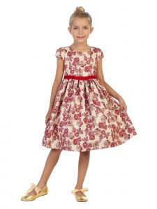 Kids Dream Girls White Floral Metallic Brocade Tea Length Christmas Dress 2T-12