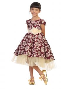 Kids Dream Girls Gold Floral Brocade Hi-Low Christmas Dress 4-12