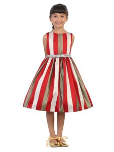 Kids Dream Little Girls Red Metallic Stripe Tea Length Christmas Dress 2T-6