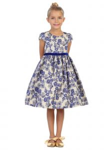 Kids Dream Little Girls Blue White Floral Brocade Tea Length Christmas Dress 2T-6
