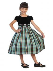 Kids Dream Little Girls Blue Plaid Skirt Black Velvet Top Christmas Dress 2T-6