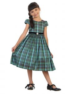 Kids Dream Little Girls Teal Plaid Skirt Black Velvet Sash Christmas Dress 2T-6