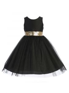 Kids Dream Big Girls Black Sequin Glitter Tulle Christmas Dress 16.5