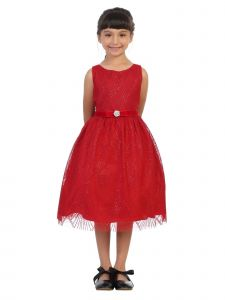 Kids Dream Plus Size Girls Red Diamond Mesh Overlay Christmas Dress