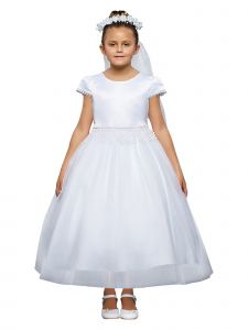 Kids Dream Big Girls White Chandelier Trim Plus Size Communion Dress 20.5