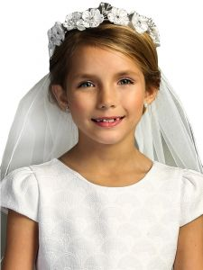 Kids Dream Girls White Floral Pearl Rhinestone Crown Communion Flower Girl Veil