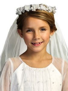 Kids Dream Girls White Flowers Pearls Crown Communion Flower Girl Veil