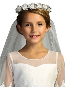 Kids Dream Girls White Flowers Rhinestone Crown Communion Flower Girl Veil