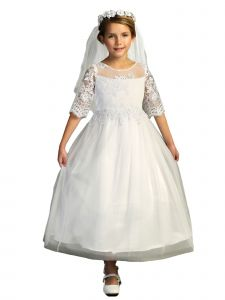 Kids Dream Big Girls White Lace Trim Satin Tulle Half Sleeve Communion Dress 6-14
