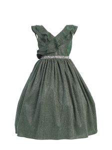 Kids Dream Little Girls Green Rhinestone Lurex Christmas Dress 2T-4