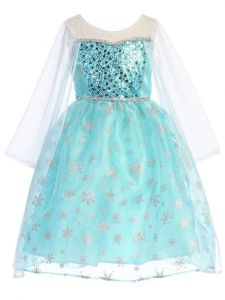 Kids Dream Big Girls Light Blue Sequin Trim Mesh Cape Frozen Dress 8-12