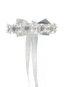 Kids Dream Girls Sparkle Floral Long Bow Flower Girl Hair Tiara Crown