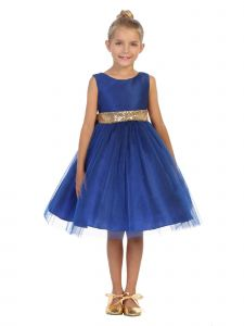 Kids Dream Big Girls Royal Blue Sequin Tulle Plus Size Christmas Dress 16.5