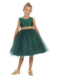 Kids Dream Big Girls Hunter Green Sequin Plus Size Christmas Dress 14.5-20.5
