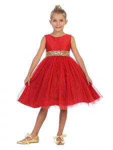 Kids Dream Little Girls Red Sequin Glitter Tulle Christmas Dress 2-6