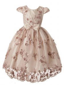Kiki Kids Little Girls Blush Embroidered Taffeta Christmas Dress 2-6