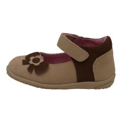 L'Amour Baby Girls Cream Nubuck Upper Flower Bow Mary Jane Shoes 3-4 Baby