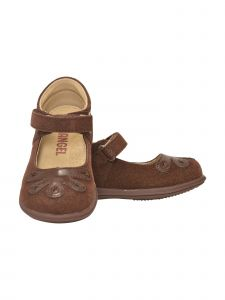 Angel Girls Brown Bloom Leather Lining Gum Sole Mary Jane Shoes 4-10 Toddler