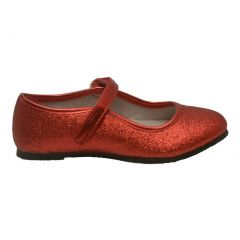 Angel Girls Red Hook and Loop Ankle Strap Glitter Flats 11-4 Kids