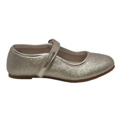 Angel Girls Silver Hook and Loop Ankle Strap Glitter Flats 11-4 Kids
