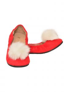 L'Amour Girls Red Suede Faux Fur Pom Pom Flats 11-4 Kids