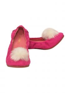 L'Amour Girls Fuchsia Suede Faux Fur Pom Pom Flats 7-10 Toddler