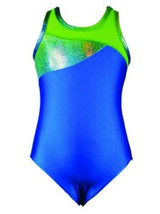 Reflectionz Little Girls Turquoise Lime Mesh Back Dance Tank Leotard 4-6