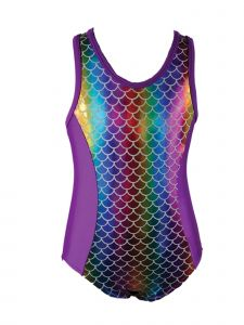 Reflectionz Big Girls Rainbow Multi Color Mermaid Dance Leotard 8-10