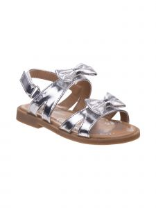 Laura Ashley Little Girls Silver Metallic Bows Flat Sandals 5 Toddler