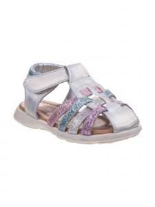 Laura Ashley Little Girls White Patent Glitter Close Toe Sandals 8 Toddler