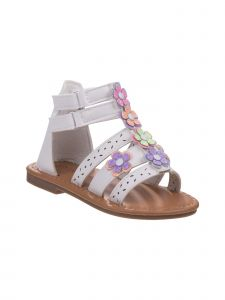 Laura Ashley Little Girls White Multi Color Flower Cutout Sandals 5-10 Toddler