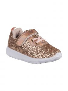 Laura Ashley Girls Rose Gold Glitter White Sole Sneakers 7 Toddler-12 Kids