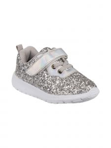 Laura Ashley Girls Silver Glitter White Sole Sneakers 7 Toddler-12 Kids