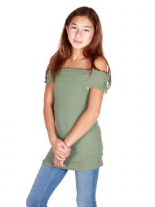 Lori & Jane Big Girls Olive Green Off Shoulder Tie Sleeves Fitted Shirt 10-16